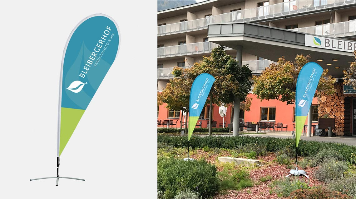 Beachflag mit Logo - Corporate Re-Design Hotel Bleibergerhof