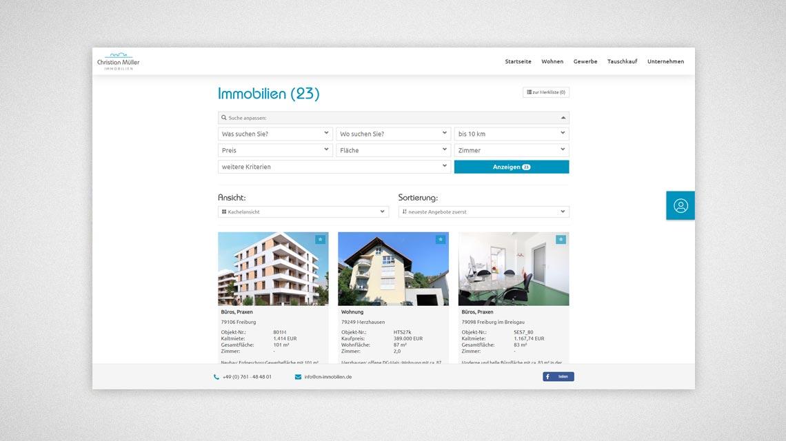 Immobilien Suchfunktion auf der neuen Homepage - Neue Webseite Christian Müller Immobilien